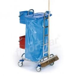 Putzwagen 1 - verchromt (ohne Deckel, Sack und Besen)
