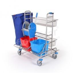 Reinigungswagen 2 - Edelstahl (ohne Sack)