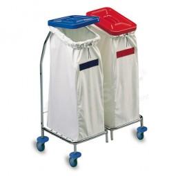 Wäschewagen 2fach - verchromt (ohne Deckel und Säcke)